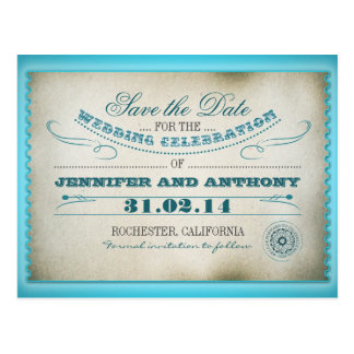 turquoise save the date vintage tickets postacards postcard