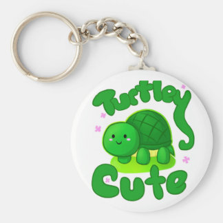 Turtley Cute Basic Round Button Key Ring