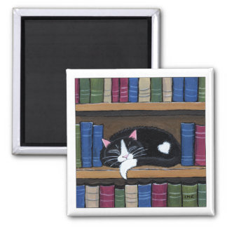 Tuxedo Cat Sleeping on Bookshelf Cat Art Magnet