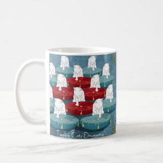Twelve Cats Drumming (holiday mug) Basic White Mug