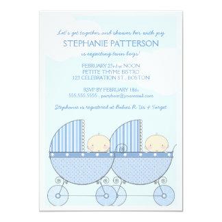 Twin Boy Blue Carriage Happy Baby Shower 13 Cm X 18 Cm Invitation Card