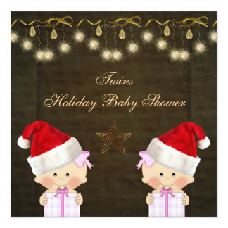 Twin Girls Christmas Baby Shower 13 Cm X 13 Cm Square Invitation Card