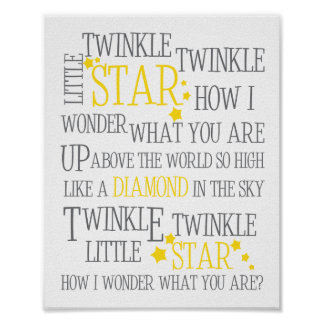 TWINKLE TWINKLE LITTLE STAR-8X10 ART PRINT-YELLOW POSTER