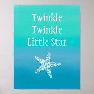 Twinkle Twinkle Little Star Fish (Ocean Beach) Poster