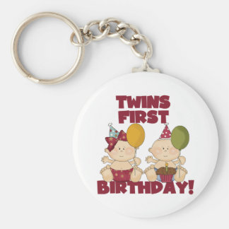 Twins 1st Birthday Boy/Girl T-shirts and Gifts Basic Round Button Key Ring