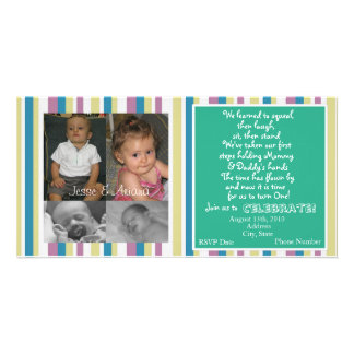 Twins First Birthday Invitation Customized Photo Card