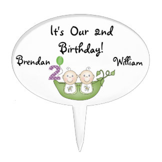 Twins Peas in Pod 2nd Birthday Cake Topper