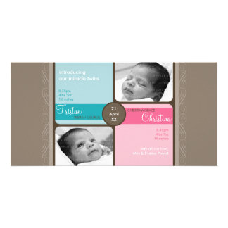 TWINS PHOTO BIRTH ANNOUNCEMENT :: cherished 1L Personalized Photo Card