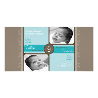 TWINS PHOTO BIRTH ANNOUNCEMENT :: cherished 3L Personalized Photo Card