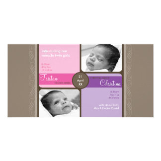 TWINS PHOTO BIRTH ANNOUNCEMENT :: cherished 4L Personalised Photo Card