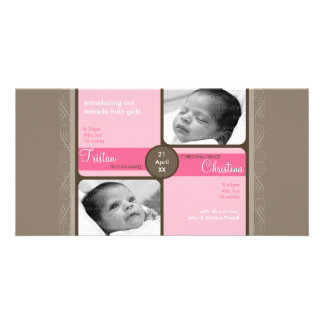 TWINS PHOTO BIRTH ANNOUNCEMENT :: cherished 5L Customised Photo Card