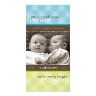 TWINS PHOTO BIRTH ANNOUNCEMENT :: harmony 3P Photo Card