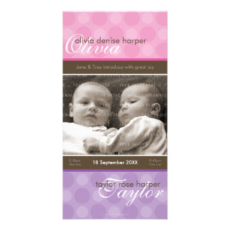 TWINS PHOTO BIRTH ANNOUNCEMENT :: harmony 4P Picture Card