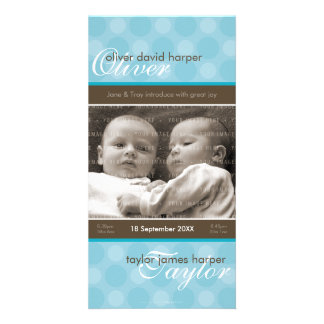 TWINS PHOTO BIRTH ANNOUNCEMENT :: harmony 5P Picture Card