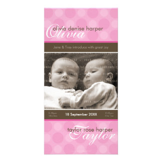 TWINS PHOTO BIRTH ANNOUNCEMENT :: harmony 6P Picture Card