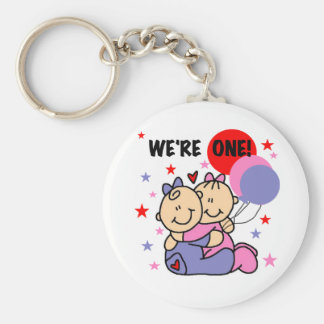 Twins We're One Birthday Tshirts and Gifts Basic Round Button Key Ring