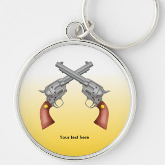Two American Old West Pistols Crossed Silver-Colored Round Key Ring
