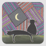 two black cats and moon square sticker