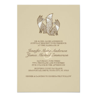 Two Brown and Ivory Foxes Wedding Invitations