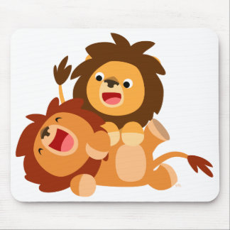 Two Cute Playful Cartoon Lions Mousepad