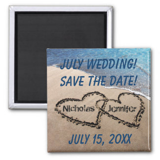 Two Hearts In The Sand Beach Save The Date Magnet