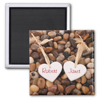 Two Hearts on a Pebble Beach Square Magnet