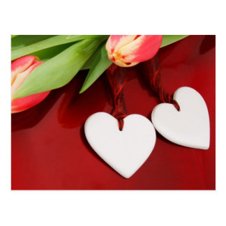 Two Hearts with Tulips Postcard