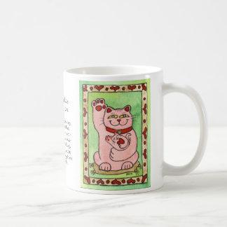 Two Pink Nekos for Luck in Love Basic White Mug