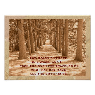 Two roads - Robert Frost quote - art print