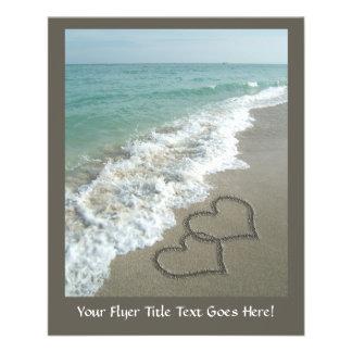 Two Sand Hearts on the Beach, Romantic Ocean 11.5 Cm X 14 Cm Flyer