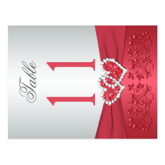 Two Sided Coral Pink and Gray Floral Table Number Postcard