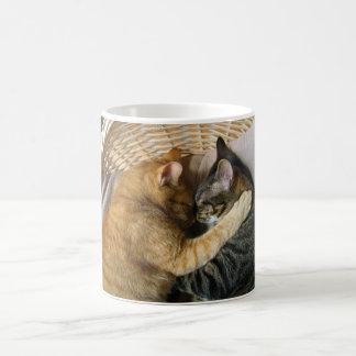 Two Sleeping Tabby Cats Cuddling Basic White Mug