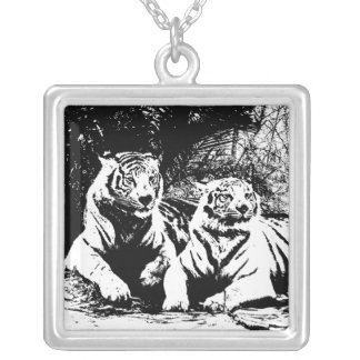 Two Tigers in Black and White Square Pendant Necklace