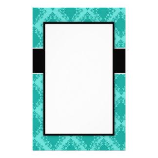 two tone aqua blue diamond damask design personalized stationery