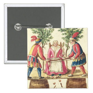Two Venetian magicians sawing a woman in half 15 Cm Square Badge