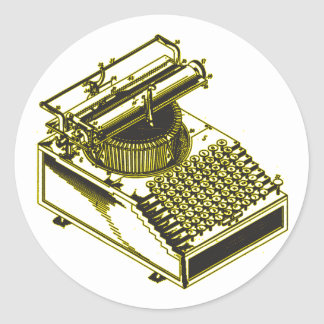 Type Writing Machine Patent Illustration Round Sticker