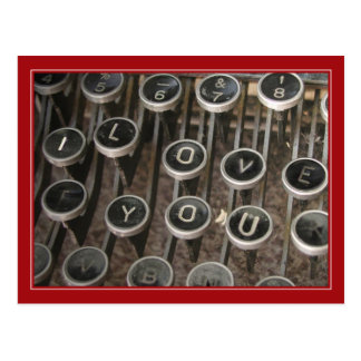 "Typewriter Keys ""I Love You"" Postcard"