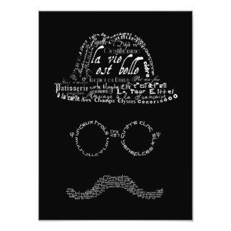 Typographic man with mustache, glasses and hat photo art