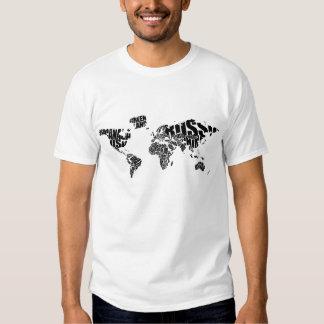 Typographic World  Map Tee Shirt