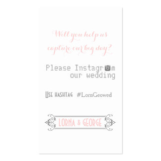 Typography with Instagram hashtag pink wedding Pack Of Standard Business Cards