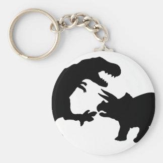 Tyrannosaur and Triceratops b Basic Round Button Key Ring