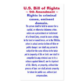 U.S. Bill of Rights, ~ Fifth (5th) Amendment ~ Pack Of Standard Business Cards