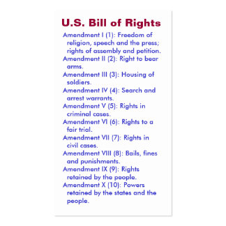 U.S. Bill of Rights ~ First 10 Amendments ~ Pack Of Standard Business Cards