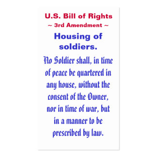 U.S. Bill of Rights, ~ Third (3rd) Amendment ~ Pack Of Standard Business Cards