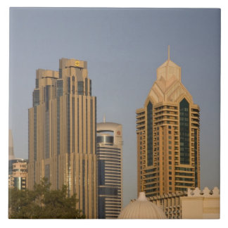 UAE, Dubai. Minaret of mosque in Al Wasl, with Large Square Tile