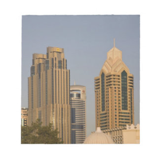 UAE, Dubai. Minaret of mosque in Al Wasl, with Note Pad