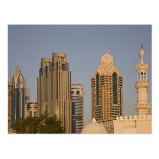 UAE, Dubai. Minaret of mosque in Al Wasl, with Postcard