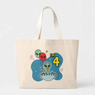UFO Alien 4th Birthday Jumbo Tote Bag