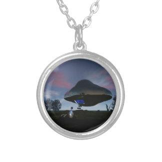 UFO Cattle Mutilation Round Pendant Necklace