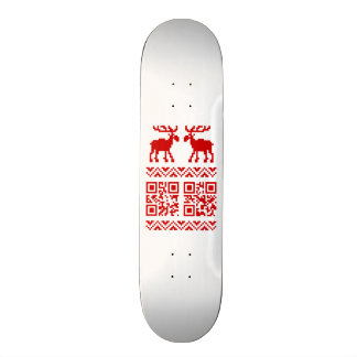 Ugly Christmas Sweater QR Code Happy New Year ! 21.6 Cm Old School Skateboard Deck